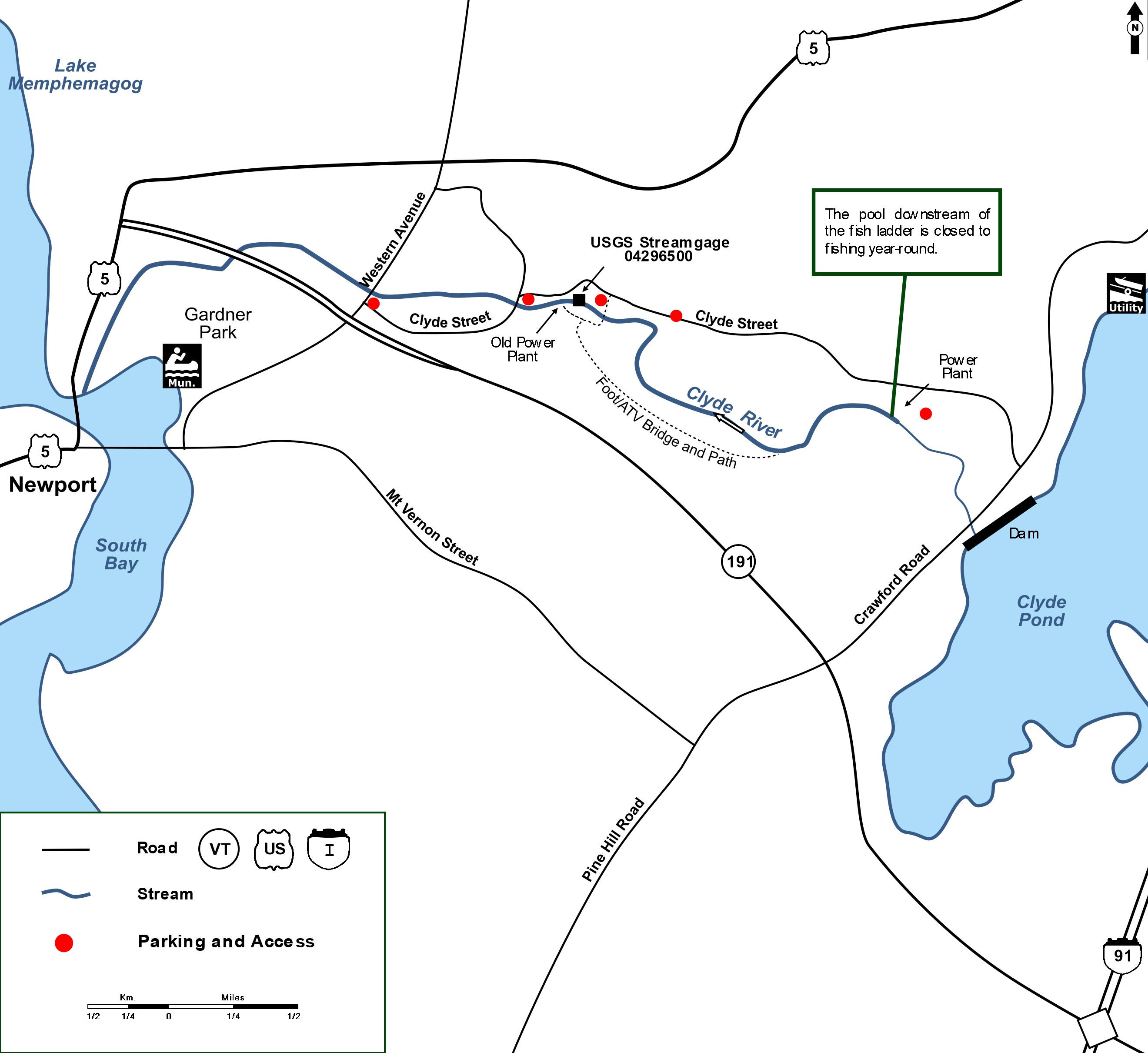 Custom detailed map showing the Clyde River in Newport with the accesses. This is a renowned salmon fishing destination.