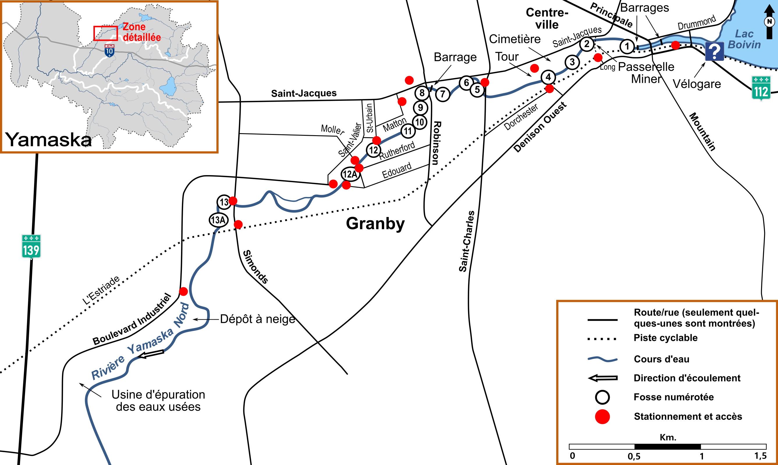 Carte détaillée provenant du livre montrant la rivière Yamaska Nord à Granby, les fosses et les accès. Cette section de rivière est une destination de pêche d'hiver.