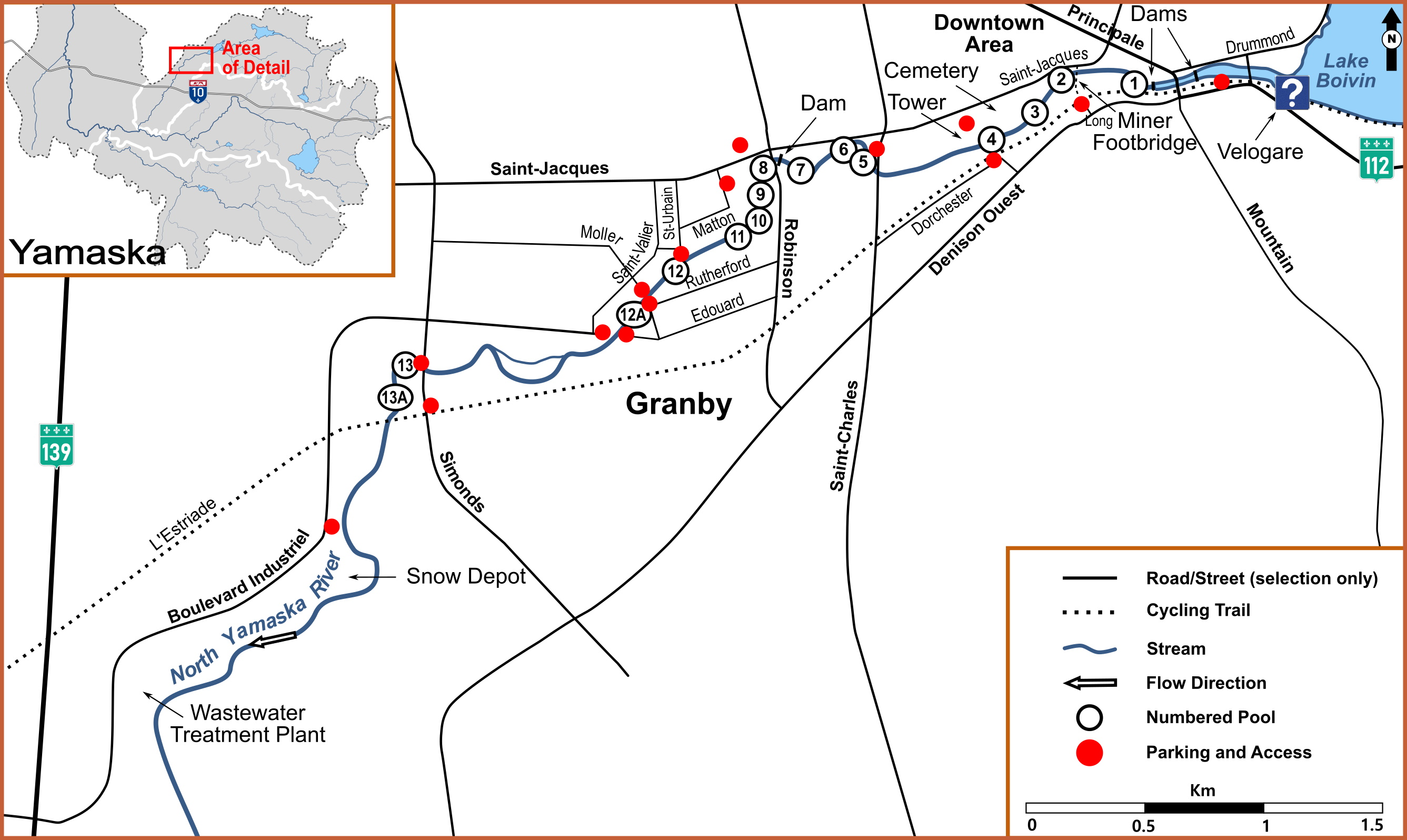 Example of a detailed map: the North Yamaska River in Granby. This section of river is a winter fishing destination.